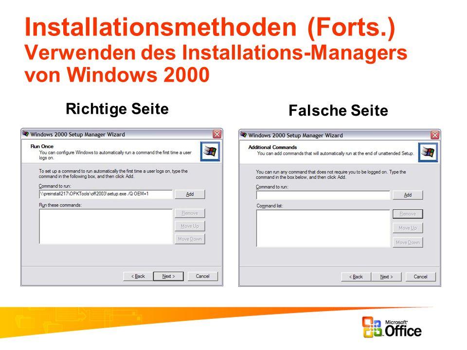 Installationsmethoden (Forts.) Verwenden des Installations-Managers von Windows 2000 Richtige Seite Falsche Seite