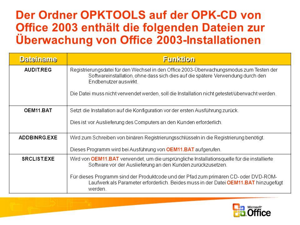 Der Ordner OPKTOOLS auf der OPK-CD von Office 2003 enthält die folgenden Dateien zur Überwachung von Office 2003-Installationen DateinameFunktion AUDI