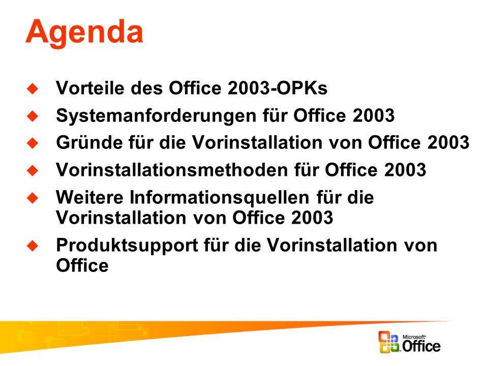 Agenda Vorteile des Office 2003-OPKs Systemanforderungen für Office 2003 Gründe für die Vorinstallation von Office 2003 Vorinstallationsmethoden für O