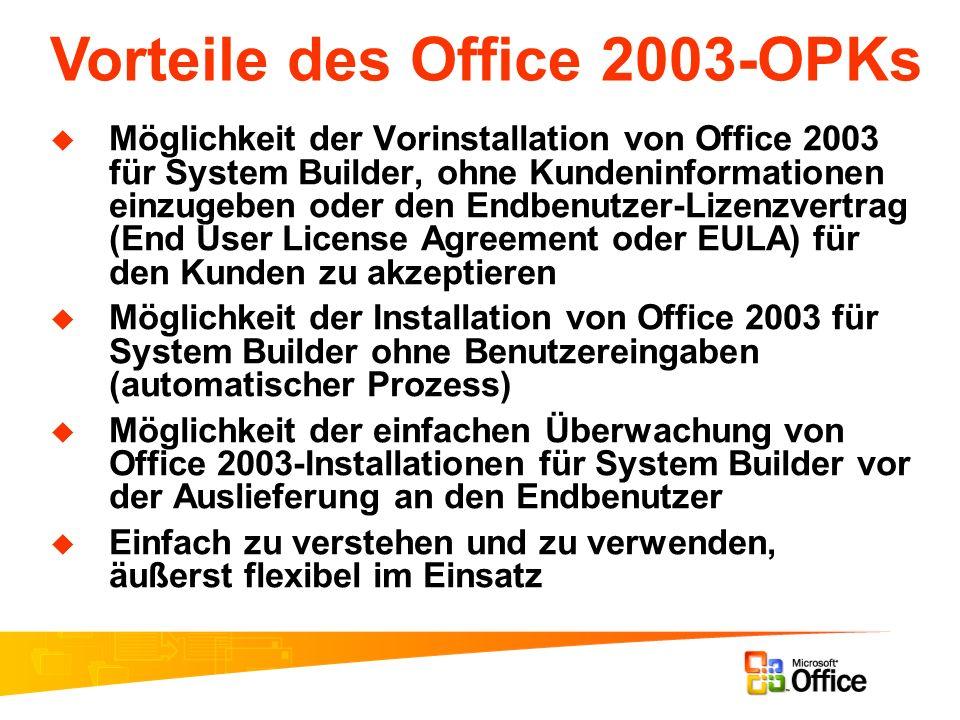 Möglichkeit der Vorinstallation von Office 2003 für System Builder, ohne Kundeninformationen einzugeben oder den Endbenutzer-Lizenzvertrag (End User L