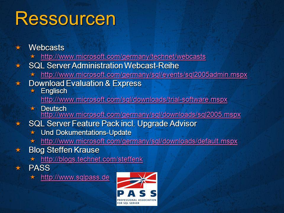 Ressourcen Webcasts Webcasts http://www.microsoft.com/germany/technet/webcasts http://www.microsoft.com/germany/technet/webcasts http://www.microsoft.