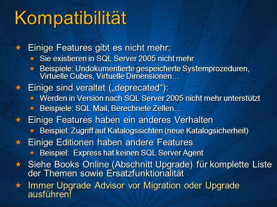 Ressourcen Webcasts Webcasts http://www.microsoft.com/germany/technet/webcasts http://www.microsoft.com/germany/technet/webcasts http://www.microsoft.com/germany/technet/webcasts SQL Server Administration Webcast-Reihe SQL Server Administration Webcast-Reihe http://www.microsoft.com/germany/sql/events/sql2005admin.mspx http://www.microsoft.com/germany/sql/events/sql2005admin.mspx http://www.microsoft.com/germany/sql/events/sql2005admin.mspx Download Evaluation & Express Download Evaluation & Express Englisch http://www.microsoft.com/sql/downloads/trial-software.mspx Englisch http://www.microsoft.com/sql/downloads/trial-software.mspx http://www.microsoft.com/sql/downloads/trial-software.mspx Deutsch http://www.microsoft.com/germany/sql/downloads/sql2005.mspx Deutsch http://www.microsoft.com/germany/sql/downloads/sql2005.mspx http://www.microsoft.com/germany/sql/downloads/sql2005.mspx SQL Server Feature Pack incl.