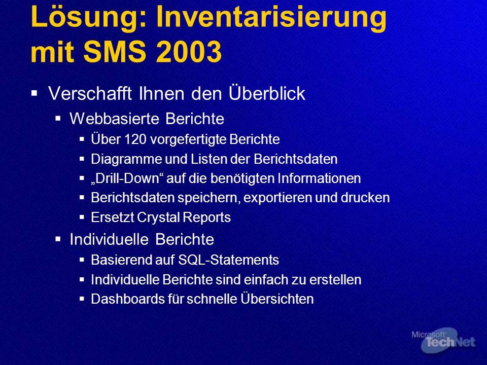 Lösung: Inventarisierung mit SMS 2003 Verschafft Ihnen den Überblick Webbasierte Berichte Über 120 vorgefertigte Berichte Diagramme und Listen der Ber
