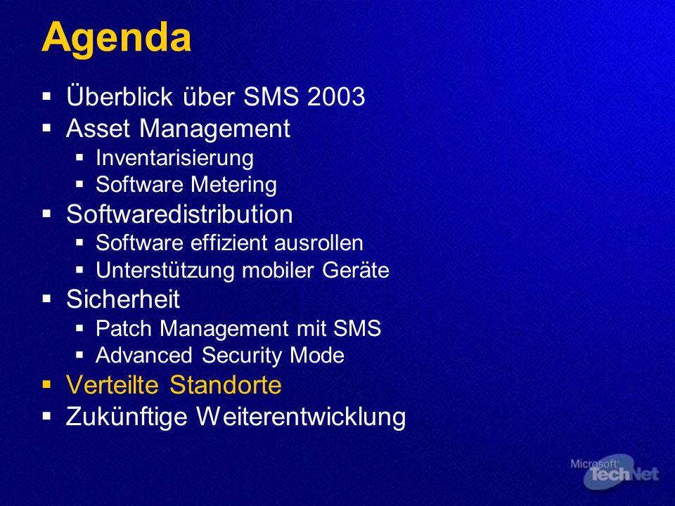 Agenda Überblick über SMS 2003 Asset Management Inventarisierung Software Metering Softwaredistribution Software effizient ausrollen Unterstützung mob