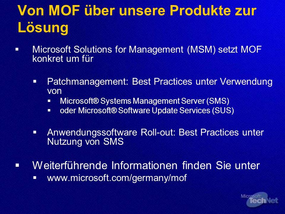 Von MOF über unsere Produkte zur Lösung Microsoft Solutions for Management (MSM) setzt MOF konkret um für Patchmanagement: Best Practices unter Verwen