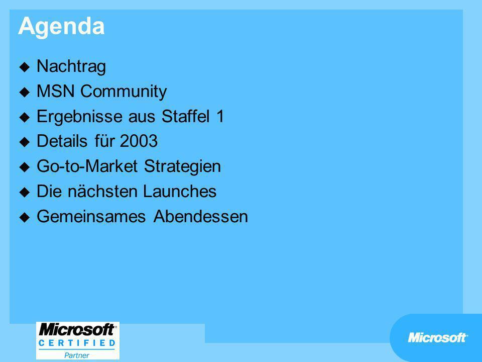 Agenda u Nachtrag u MSN Community u Ergebnisse aus Staffel 1 u Details für 2003 u Go-to-Market Strategien u Die nächsten Launches u Gemeinsames Abende
