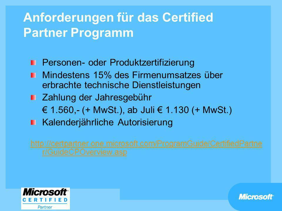 Anforderungen für das Certified Partner Programm Personen- oder Produktzertifizierung Mindestens 15% des Firmenumsatzes über erbrachte technische Dien