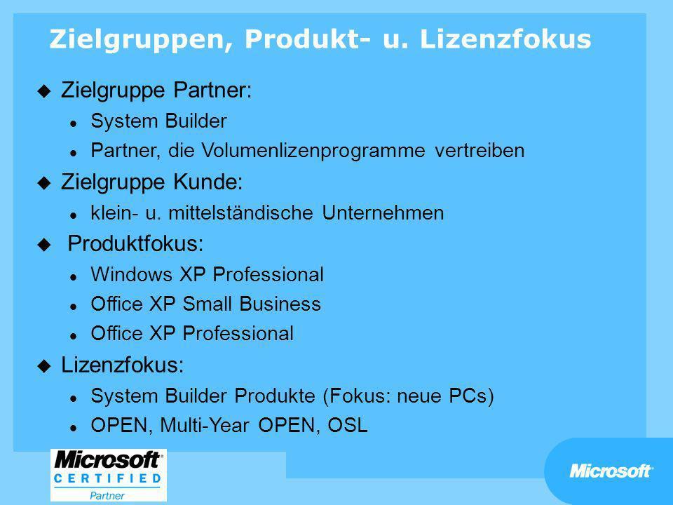 Zielgruppen, Produkt- u. Lizenzfokus Zielgruppe Partner: System Builder Partner, die Volumenlizenprogramme vertreiben Zielgruppe Kunde: klein- u. mitt