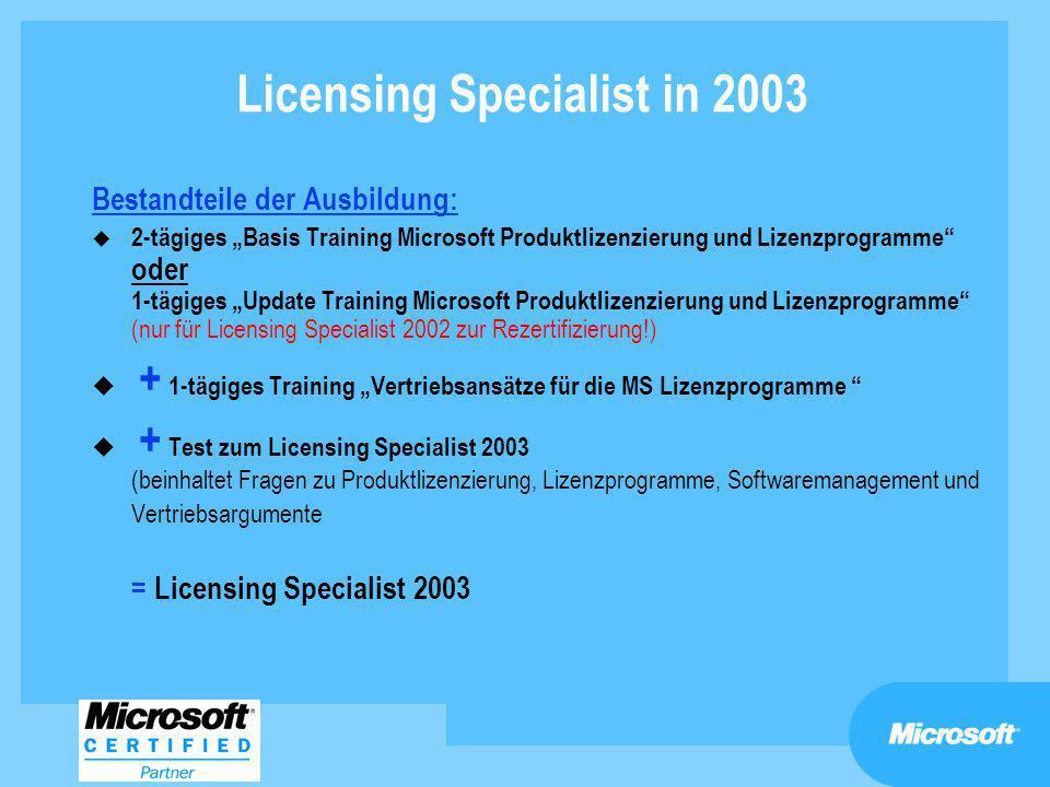Licensing Specialist in 2003 Bestandteile der Ausbildung: u 2-tägiges Basis Training Microsoft Produktlizenzierung und Lizenzprogramme oder 1-tägiges