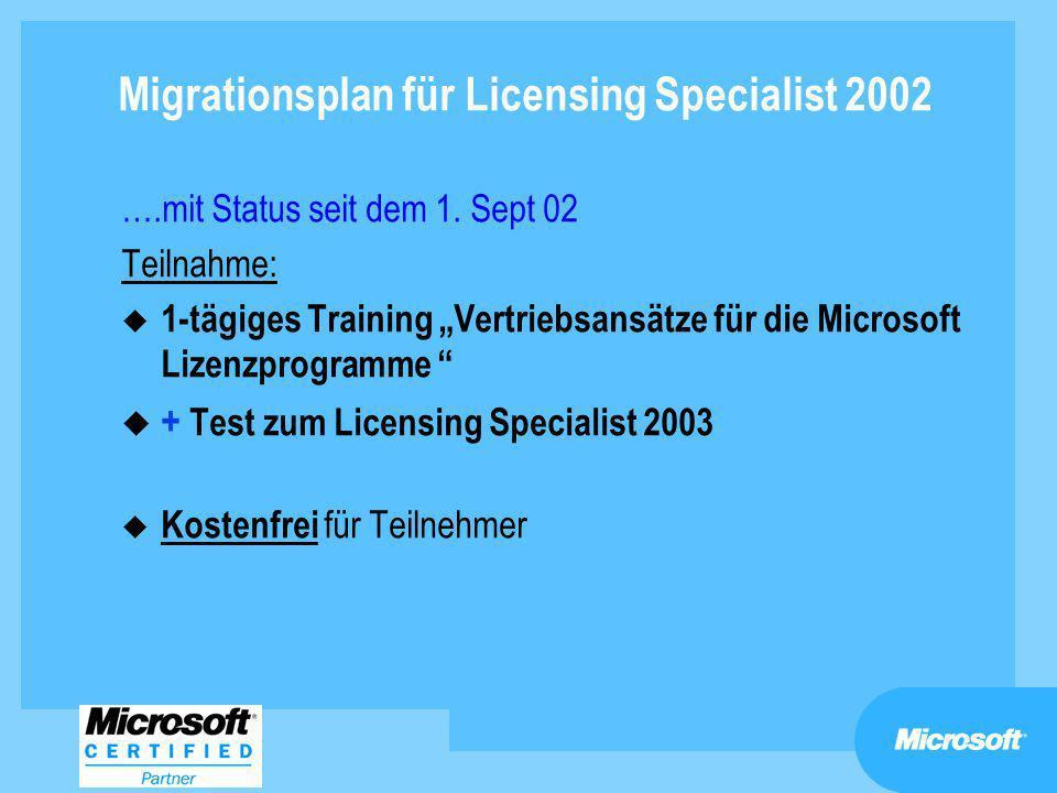 Migrationsplan für Licensing Specialist 2002 ….mit Status seit dem 1. Sept 02 Teilnahme: u 1-tägiges Training Vertriebsansätze für die Microsoft Lizen