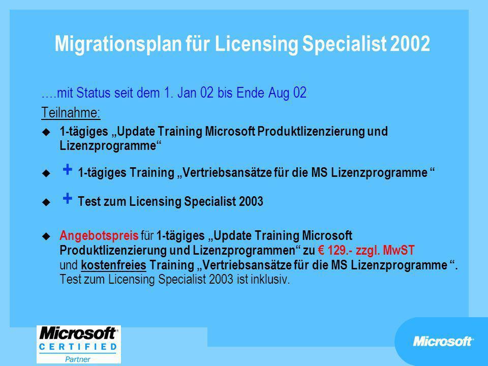 Migrationsplan für Licensing Specialist 2002 ….mit Status seit dem 1. Jan 02 bis Ende Aug 02 Teilnahme: u 1-tägiges Update Training Microsoft Produktl