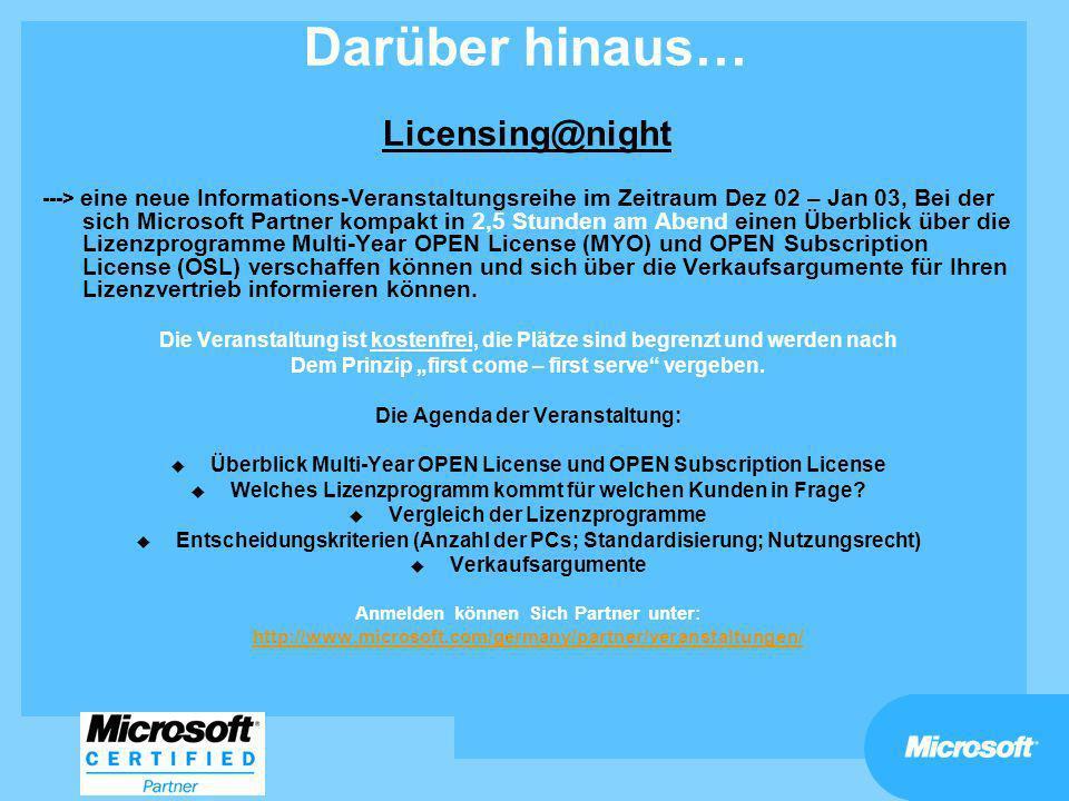 Darüber hinaus… Licensing@night ---> eine neue Informations-Veranstaltungsreihe im Zeitraum Dez 02 – Jan 03, Bei der sich Microsoft Partner kompakt in