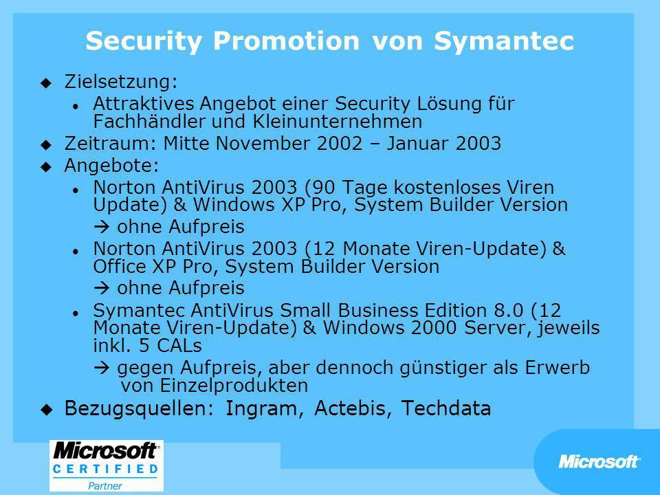 u Zielsetzung: l Attraktives Angebot einer Security Lösung für Fachhändler und Kleinunternehmen u Zeitraum: Mitte November 2002 – Januar 2003 u Angebo