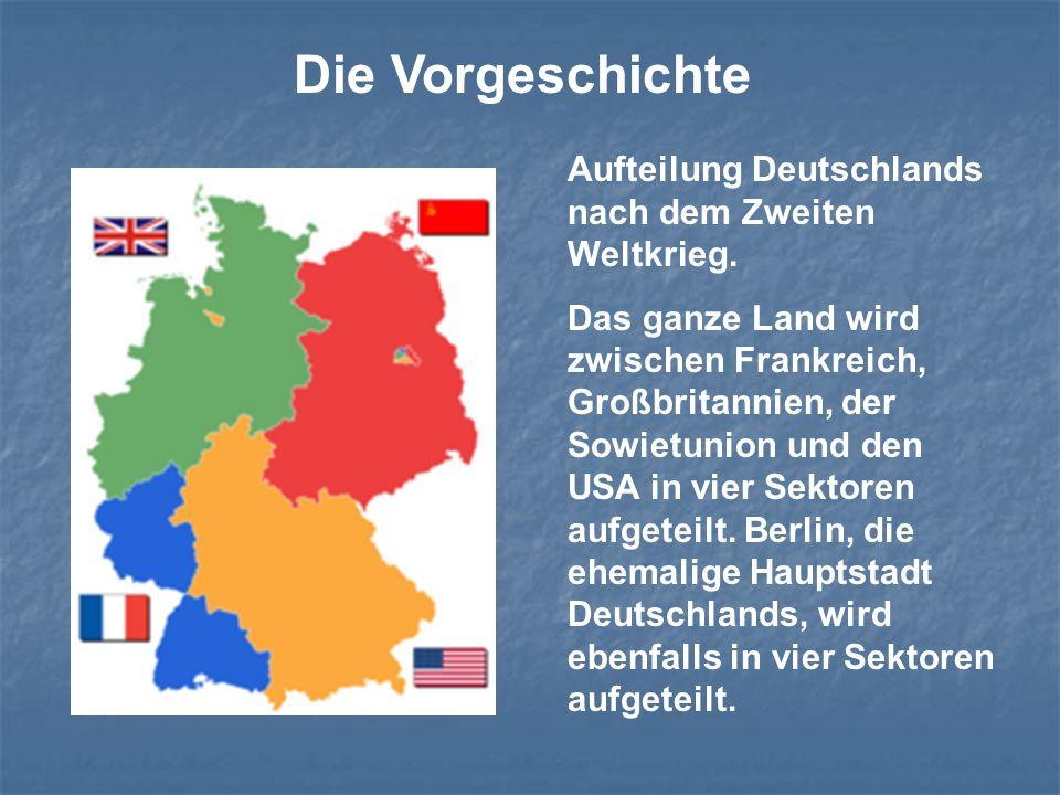 Aufteilung Deutschlands nach dem Zweiten Weltkrieg. Das ganze Land wird zwischen Frankreich, Großbritannien, der Sowietunion und den USA in vier Sekto