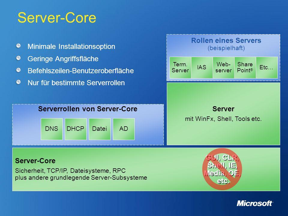 Server-Core Minimale Installationsoption Geringe Angriffsfläche Befehlszeilen-Benutzeroberfläche Nur für bestimmte Serverrollen Serverrollen von Serve