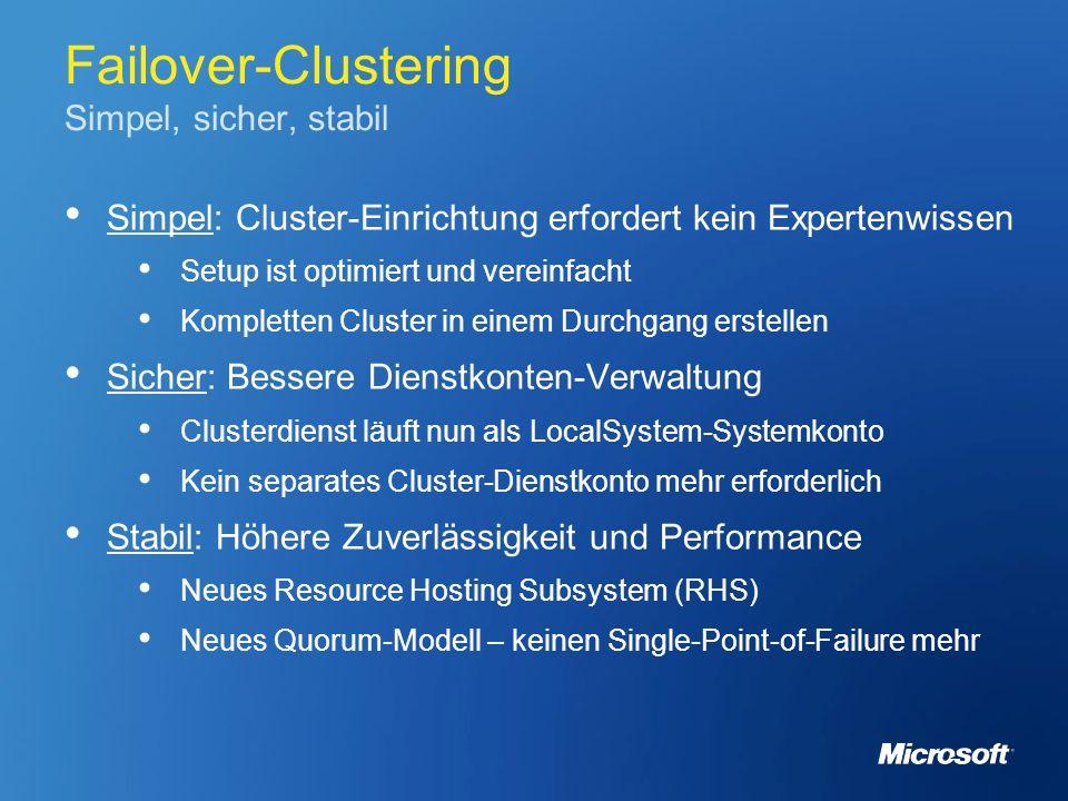Failover-Clustering Simpel, sicher, stabil Simpel: Cluster-Einrichtung erfordert kein Expertenwissen Setup ist optimiert und vereinfacht Kompletten Cl