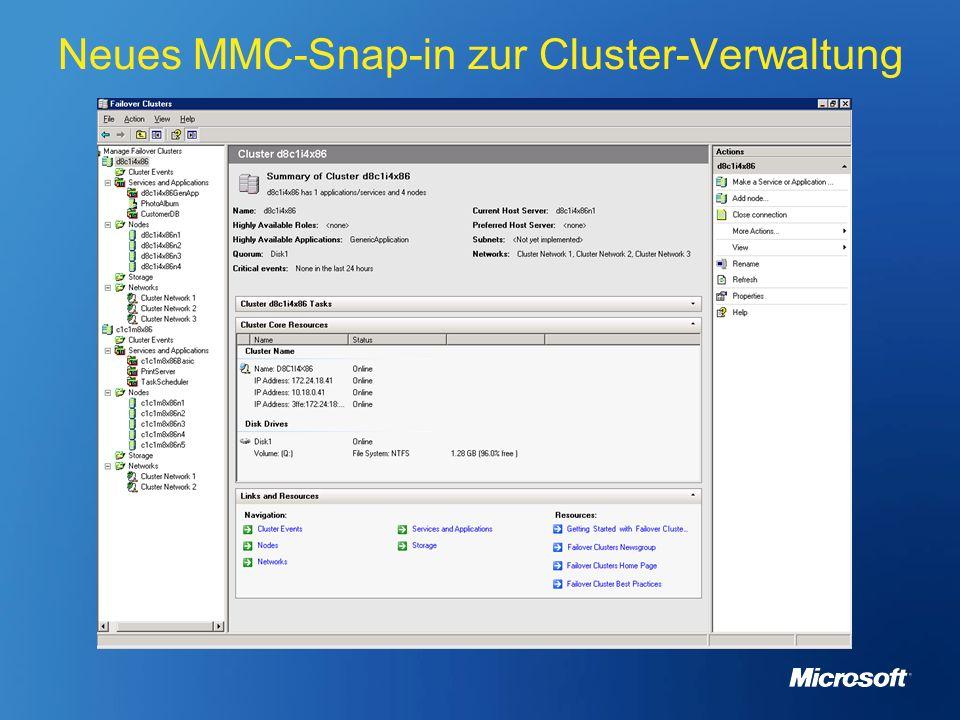 Cluster Administrator-Tool bei W2K3 Neues MMC-Snap-in zur Cluster-Verwaltung