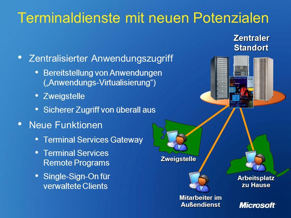 Terminaldienste mit neuen Potenzialen Zentralisierter Anwendungszugriff Bereitstellung von Anwendungen (Anwendungs-Virtualisierung) Zweigstelle Sicher