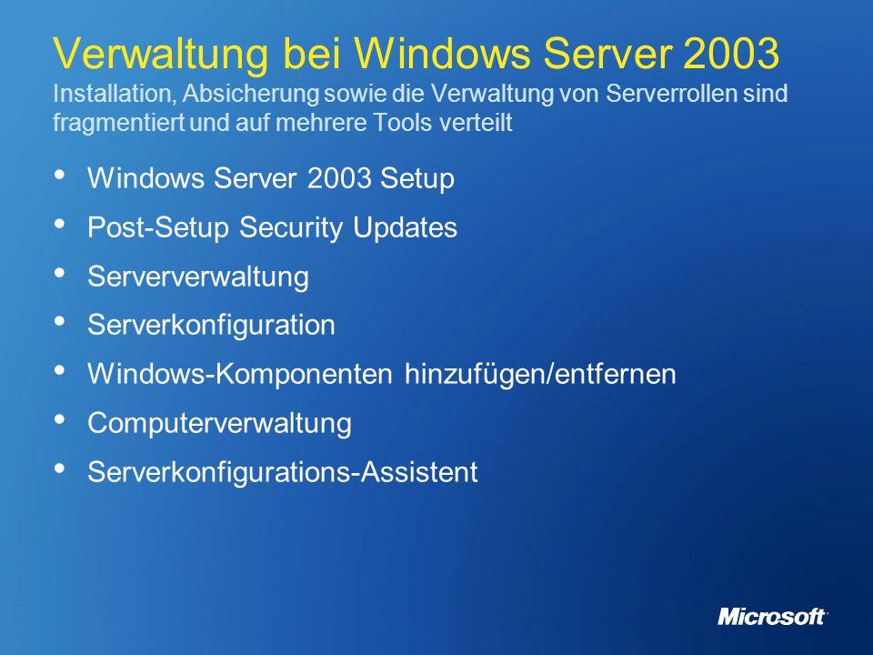 Verwaltung bei Windows Server 2003 Installation, Absicherung sowie die Verwaltung von Serverrollen sind fragmentiert und auf mehrere Tools verteilt Wi