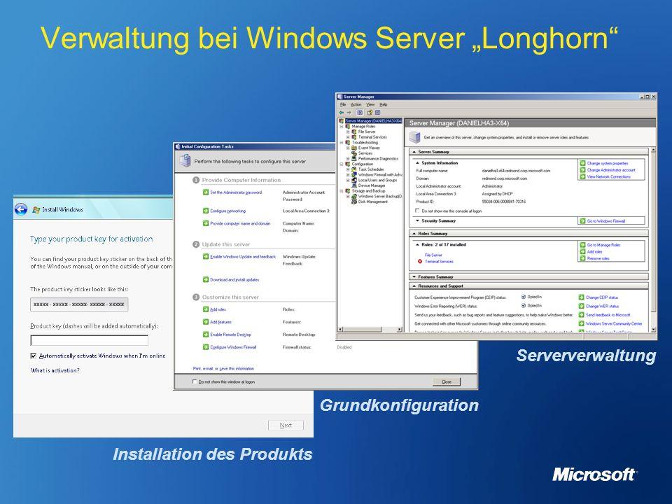 Verwaltung bei Windows Server Longhorn Installation des Produkts Grundkonfiguration Serververwaltung