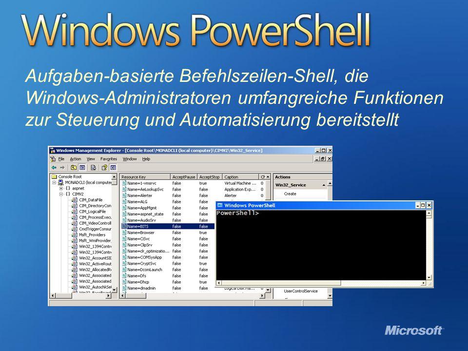 Windows PowerShell Aufgaben-basierte Befehlszeilen-Shell, die Windows-Administratoren umfangreiche Funktionen zur Steuerung und Automatisierung bereit