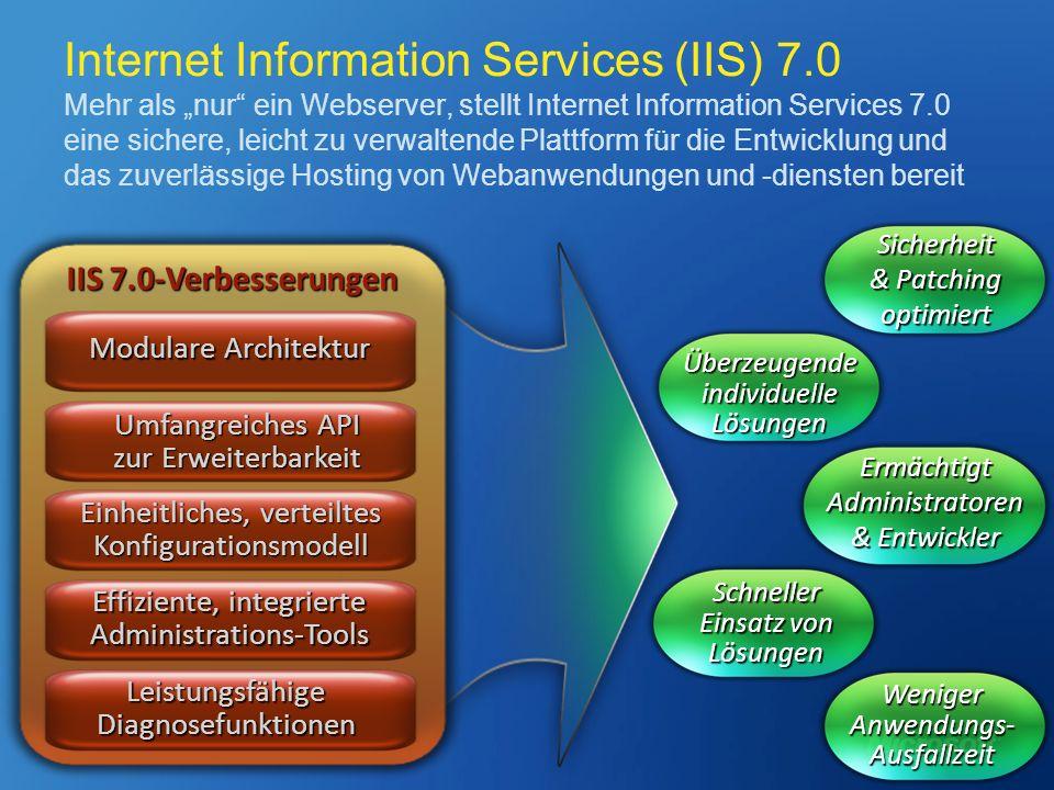 Internet Information Services (IIS) 7.0 Mehr als nur ein Webserver, stellt Internet Information Services 7.0 eine sichere, leicht zu verwaltende Platt
