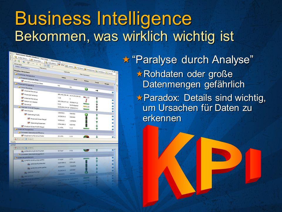 Business Intelligence Bekommen, was wirklich wichtig ist Paralyse durch AnalyseParalyse durch Analyse Rohdaten oder große Datenmengen gefährlich Rohda