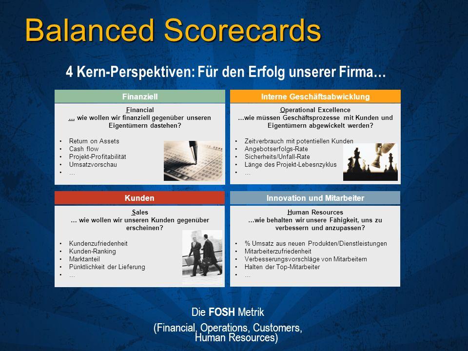 Balanced Scorecards Financial … wie wollen wir finanziell gegenüber unseren Eigentümern dastehen? Return on Assets Cash flow Projekt-Profitabilität Um