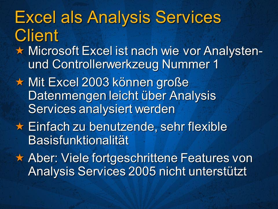 Excel als Analysis Services Client Microsoft Excel ist nach wie vor Analysten- und Controllerwerkzeug Nummer 1 Microsoft Excel ist nach wie vor Analys