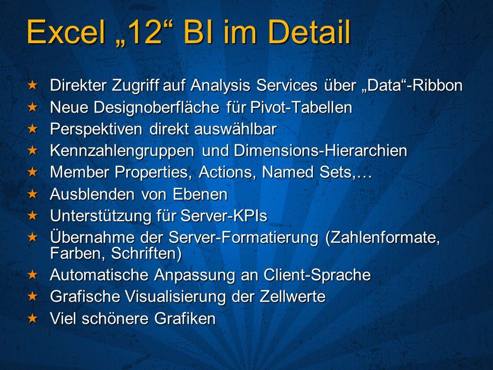 Excel 12 BI im Detail Direkter Zugriff auf Analysis Services über Data-Ribbon Direkter Zugriff auf Analysis Services über Data-Ribbon Neue Designoberf