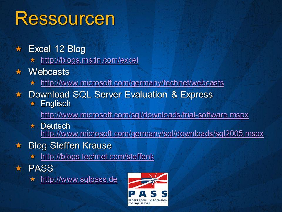 Ressourcen Excel 12 Blog Excel 12 Blog http://blogs.msdn.com/excel http://blogs.msdn.com/excel http://blogs.msdn.com/excel Webcasts Webcasts http://ww