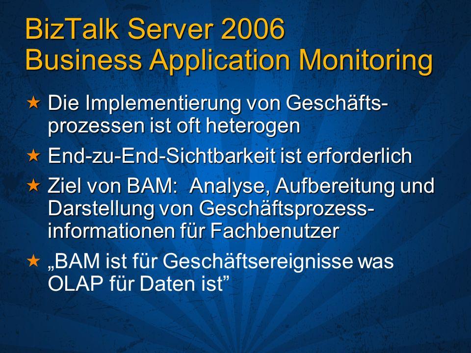 BizTalk Server 2006 Business Application Monitoring Die Implementierung von Geschäfts- prozessen ist oft heterogen Die Implementierung von Geschäfts-