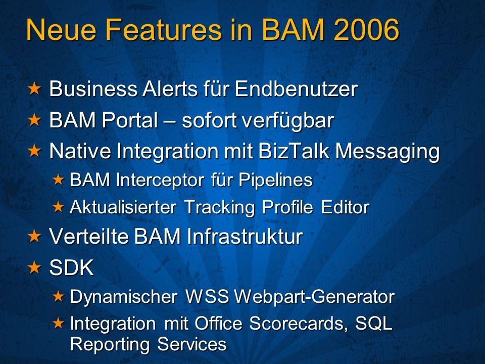 Neue Features in BAM 2006 Business Alerts für Endbenutzer Business Alerts für Endbenutzer BAM Portal – sofort verfügbar BAM Portal – sofort verfügbar