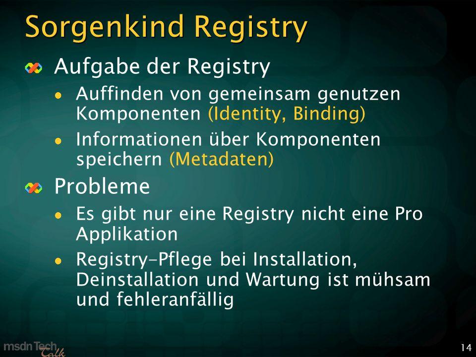 14 Sorgenkind Registry Aufgabe der Registry Auffinden von gemeinsam genutzen Komponenten (Identity, Binding) Informationen über Komponenten speichern (Metadaten) Probleme Es gibt nur eine Registry nicht eine Pro Applikation Registry-Pflege bei Installation, Deinstallation und Wartung ist mühsam und fehleranfällig