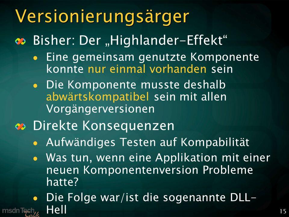 15 Versionierungsärger Bisher: Der Highlander-Effekt Eine gemeinsam genutzte Komponente konnte nur einmal vorhanden sein Die Komponente musste deshalb