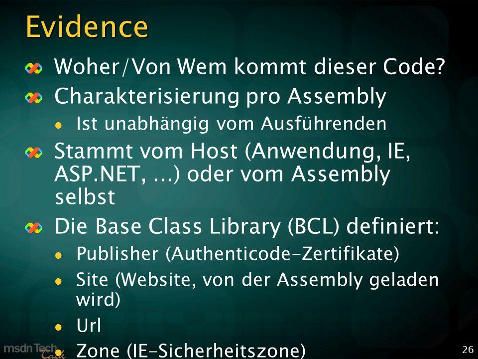 26 Evidence Woher/Von Wem kommt dieser Code.