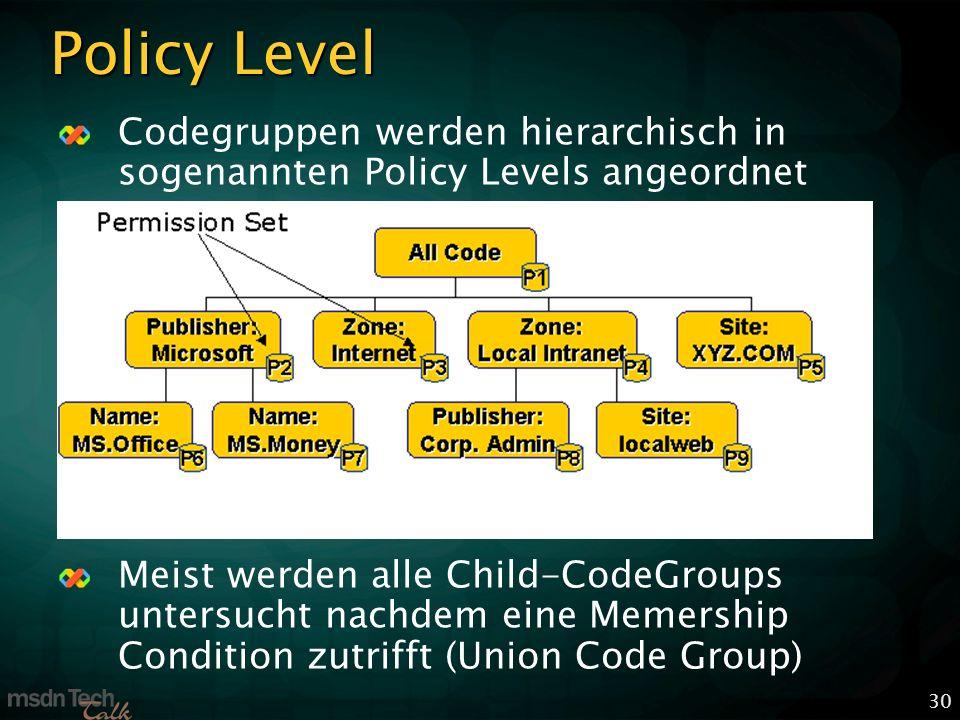 30 Policy Level Codegruppen werden hierarchisch in sogenannten Policy Levels angeordnet Meist werden alle Child-CodeGroups untersucht nachdem eine Memership Condition zutrifft (Union Code Group)