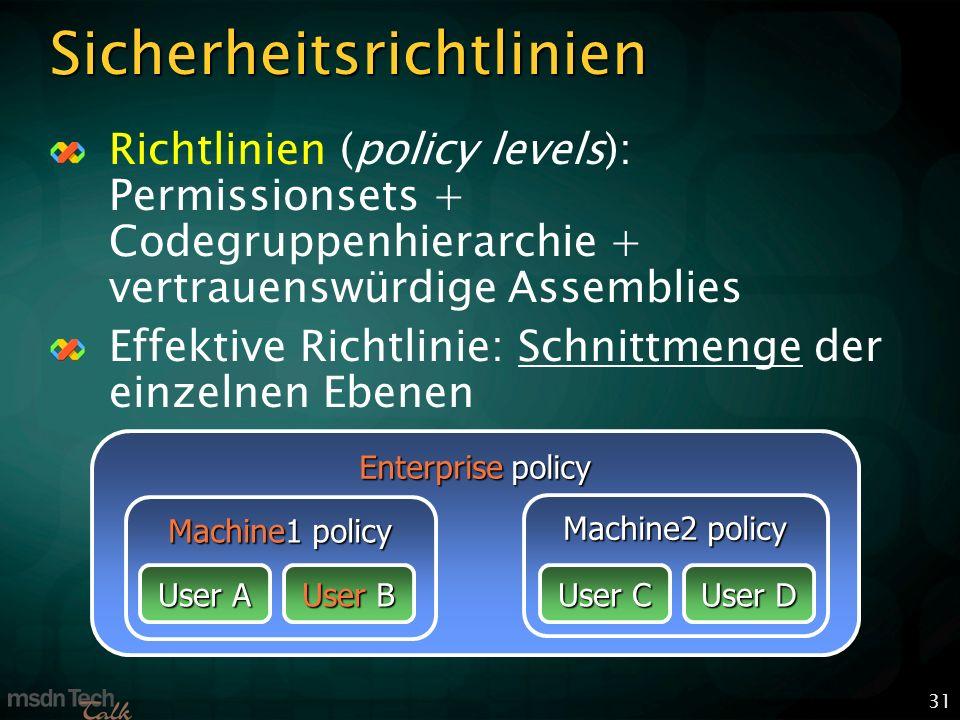 31 Sicherheitsrichtlinien Richtlinien (policy levels): Permissionsets + Codegruppenhierarchie + vertrauenswürdige Assemblies Effektive Richtlinie: Schnittmenge der einzelnen Ebenen Enterprise policy Machine1 policy Machine2 policy User A User B User C User D