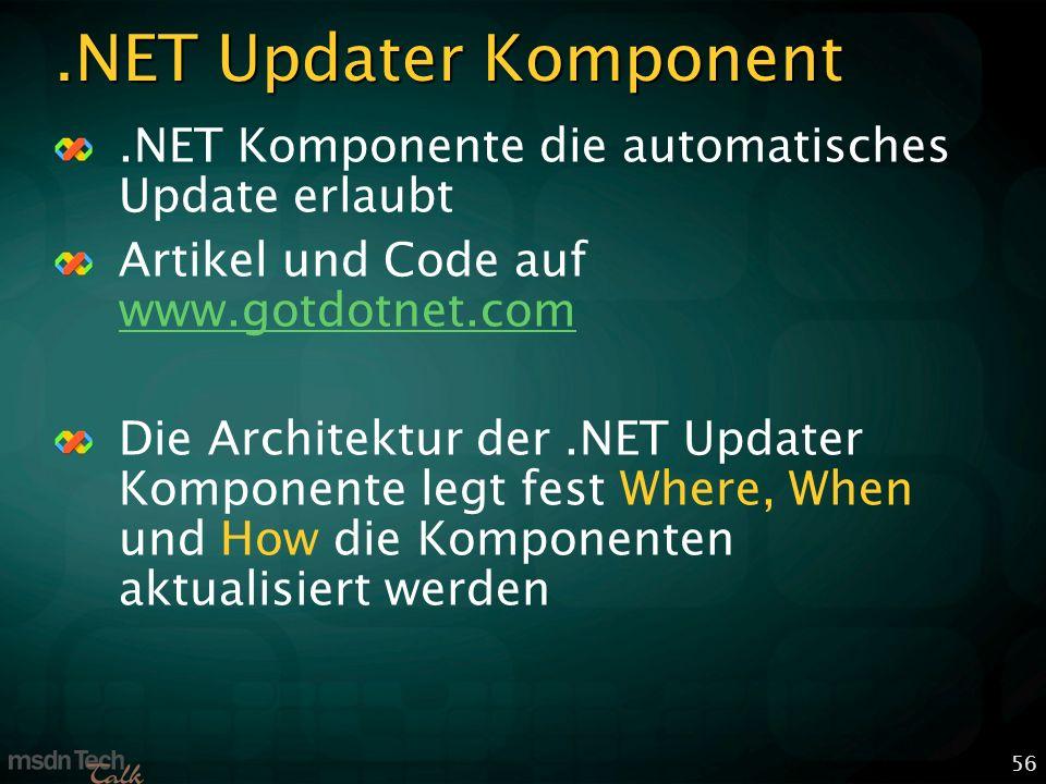 56.NET Updater Komponent.NET Komponente die automatisches Update erlaubt Artikel und Code auf www.gotdotnet.com www.gotdotnet.com Die Architektur der.NET Updater Komponente legt fest Where, When und How die Komponenten aktualisiert werden