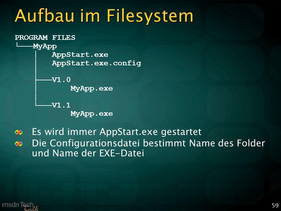 59 Aufbau im Filesystem PROGRAM FILES MyApp AppStart.exe AppStart.exe.config V1.0 MyApp.exe V1.1 MyApp.exe Es wird immer AppStart.exe gestartet Die Configurationsdatei bestimmt Name des Folder und Name der EXE-Datei