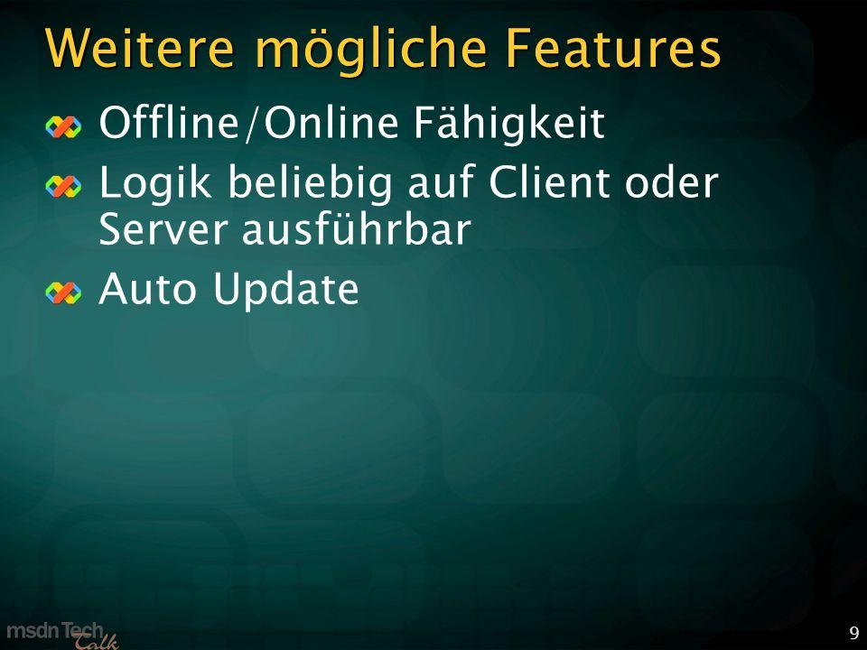 9 Weitere mögliche Features Offline/Online Fähigkeit Logik beliebig auf Client oder Server ausführbar Auto Update