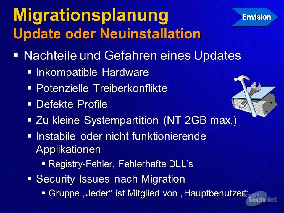 Migrationsplanung Update oder Neuinstallation Nachteile und Gefahren eines Updates Inkompatible Hardware Potenzielle Treiberkonflikte Defekte Profile