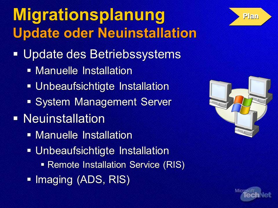 Migrationsplanung Update oder Neuinstallation Update des Betriebssystems Manuelle Installation Unbeaufsichtigte Installation System Management Server