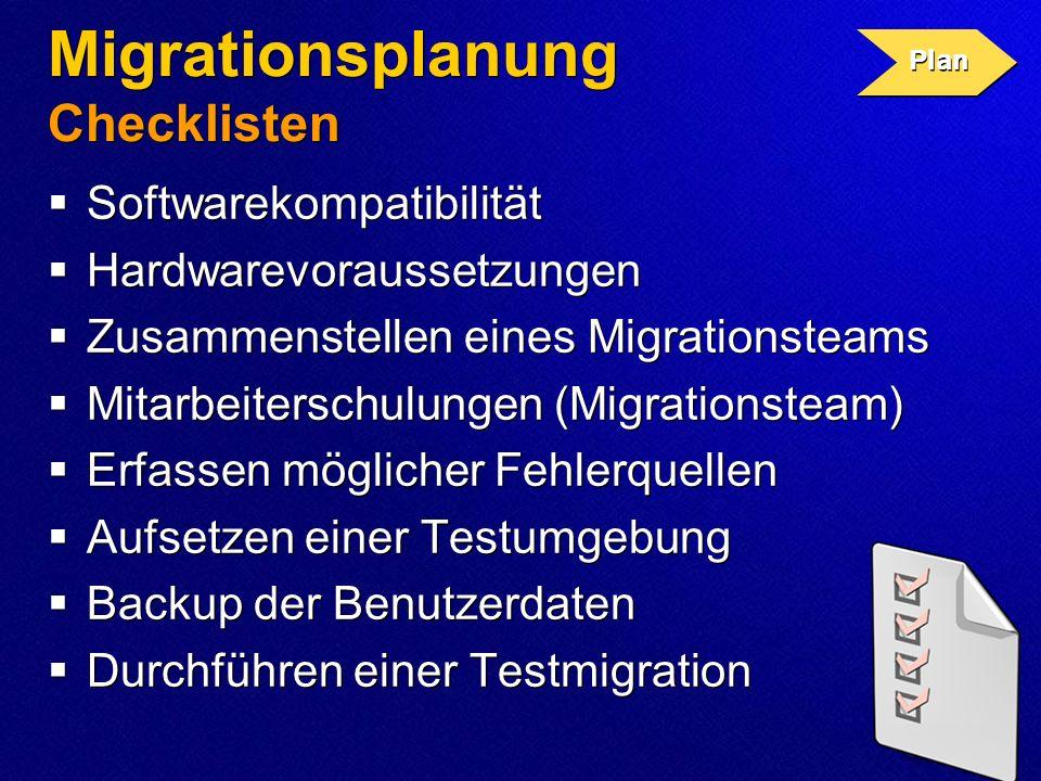 Migrationsplanung Checklisten Softwarekompatibilität Hardwarevoraussetzungen Zusammenstellen eines Migrationsteams Mitarbeiterschulungen (Migrationste
