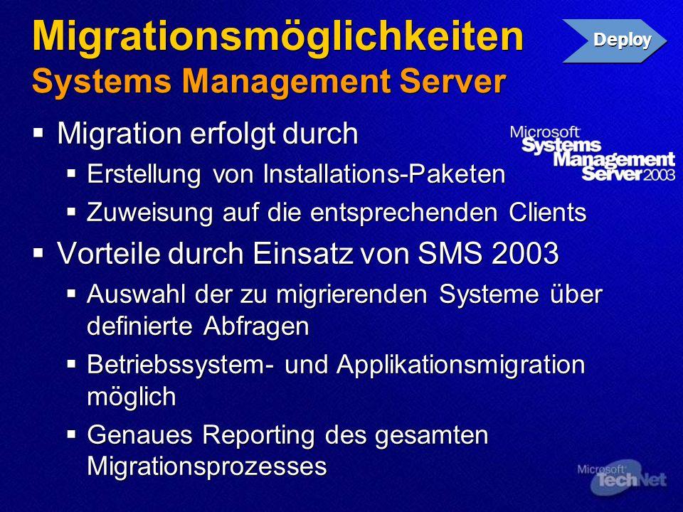 Migrationsmöglichkeiten Systems Management Server Migration erfolgt durch Erstellung von Installations-Paketen Zuweisung auf die entsprechenden Client
