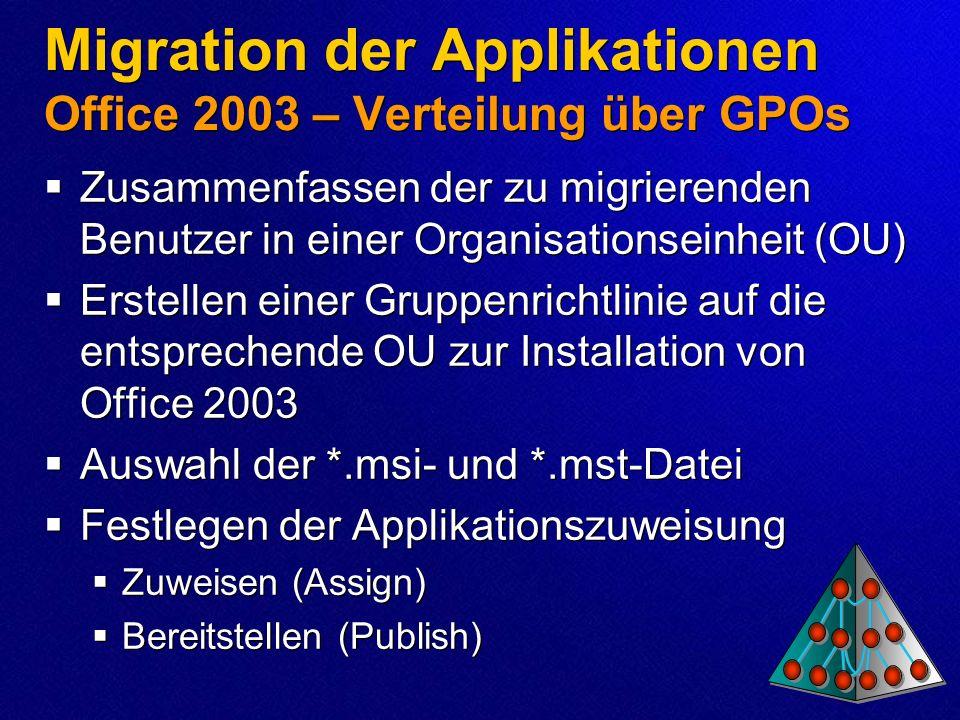 Migration der Applikationen Office 2003 – Verteilung über GPOs Zusammenfassen der zu migrierenden Benutzer in einer Organisationseinheit (OU) Erstelle