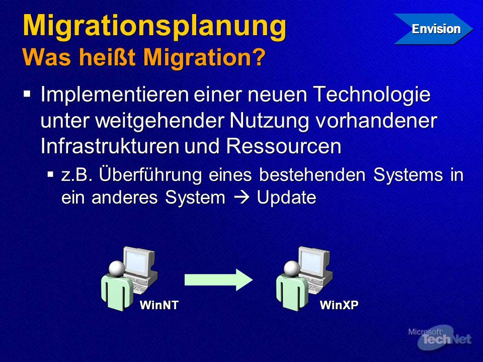 Migrationsplanung Was heißt Migration? Implementieren einer neuen Technologie unter weitgehender Nutzung vorhandener Infrastrukturen und Ressourcen z.