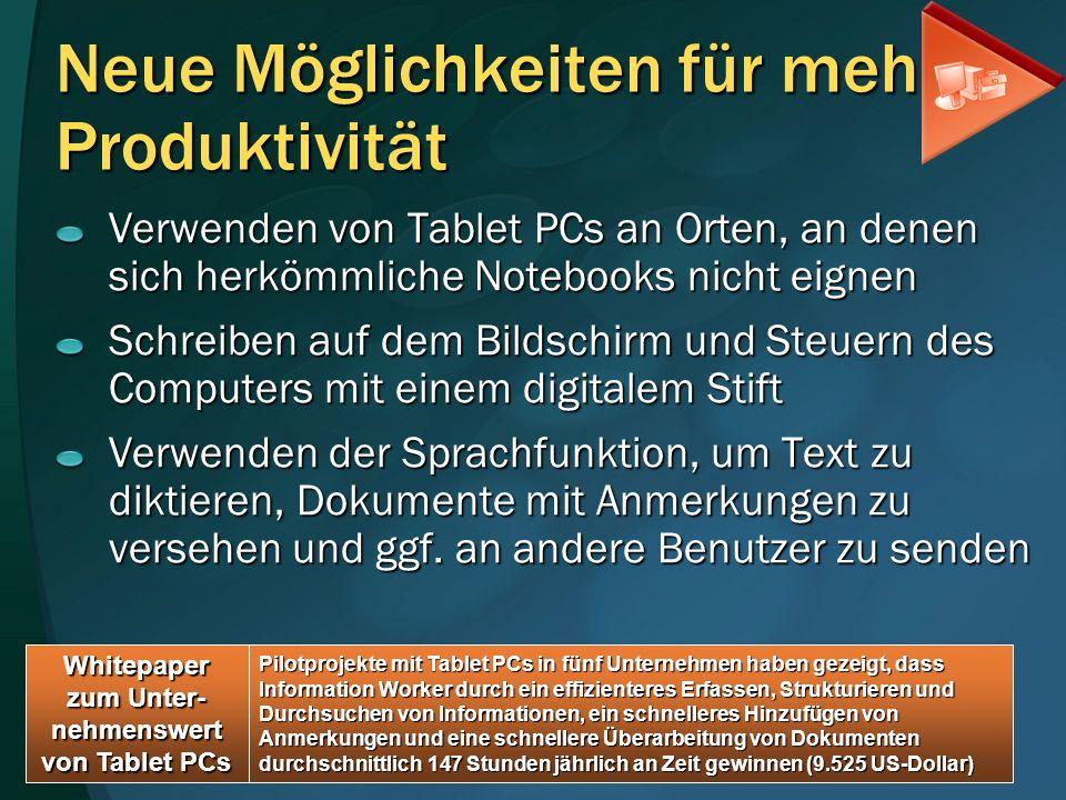 Neue Möglichkeiten für mehr Produktivität Verwenden von Tablet PCs an Orten, an denen sich herkömmliche Notebooks nicht eignen Schreiben auf dem Bilds