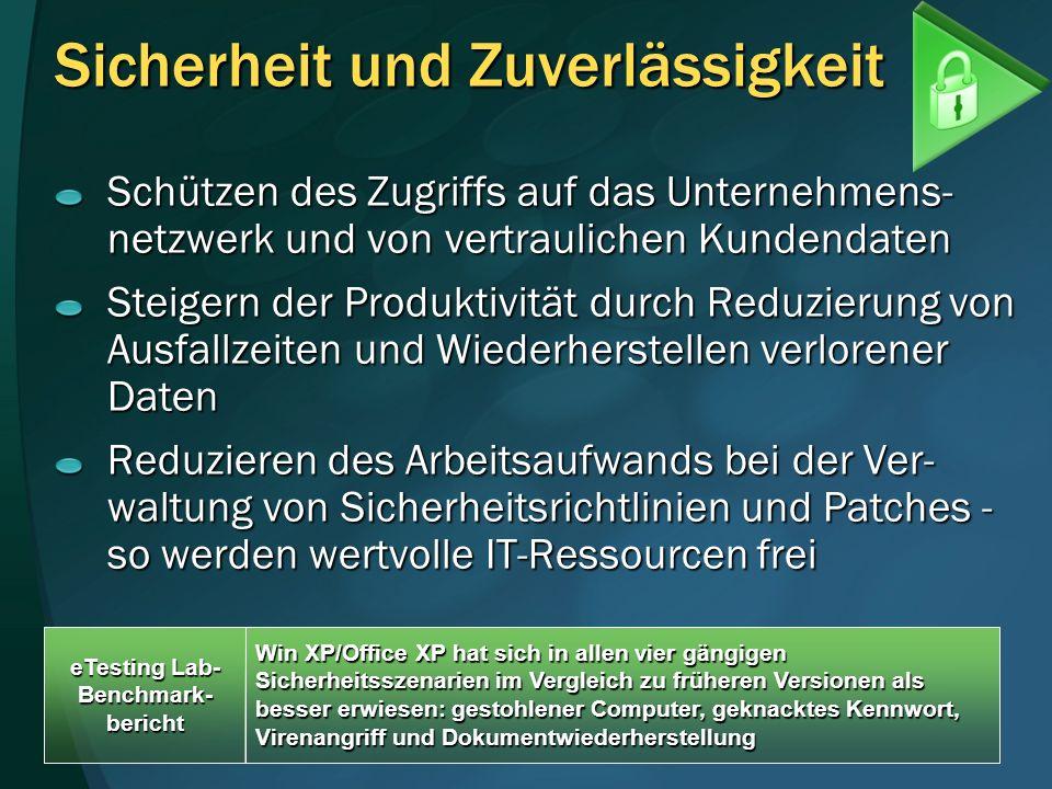Sicherheit und Zuverlässigkeit Schützen des Zugriffs auf das Unternehmens- netzwerk und von vertraulichen Kundendaten Steigern der Produktivität durch