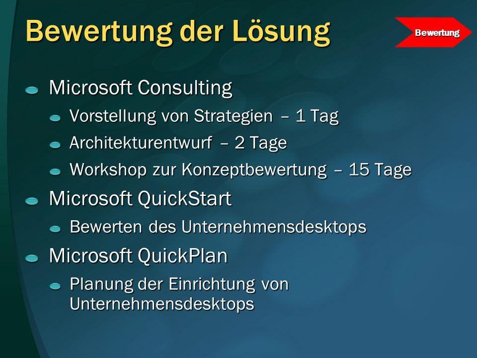 Bewertung der Lösung Microsoft Consulting Vorstellung von Strategien – 1 Tag Architekturentwurf – 2 Tage Workshop zur Konzeptbewertung – 15 Tage Micro